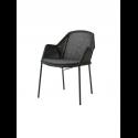 BREEZE jedálenská stolička stohovateľná, black, čierny sedák