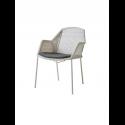 BREEZE jedálenská stolička stohovateľná, white grey, čierny sedák