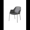 BREEZE jedálenská stolička stohovateľná, light grey, čierny sedák